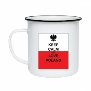 Enameled mug Polish flag with an inscription - PrintSalon