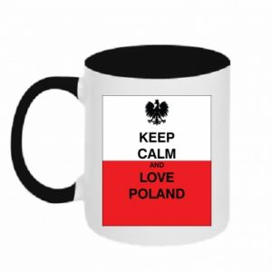 Two-toned mug Polish flag with an inscription - PrintSalon