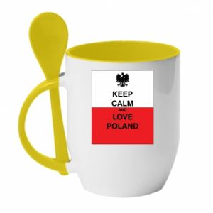 Mug with ceramic spoon Polish flag with an inscription - PrintSalon