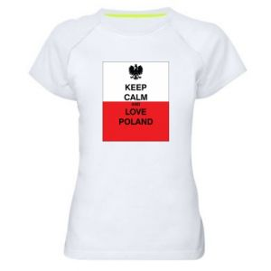 Women's sports t-shirt Polish flag with an inscription - PrintSalon