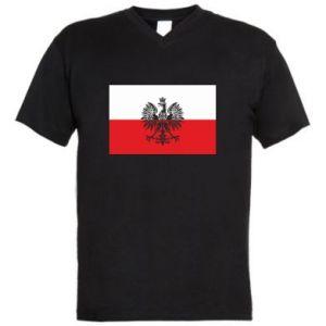 Men's V-neck t-shirt Polish flag - PrintSalon