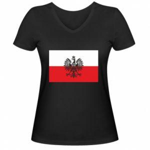 Women's V-neck t-shirt Polish flag - PrintSalon