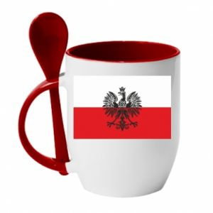 Mug with ceramic spoon Polish flag - PrintSalon