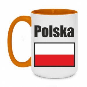Kubek dwukolorowy 450ml Polska i flaga