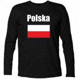 Koszulka z długim rękawem Polska i flaga