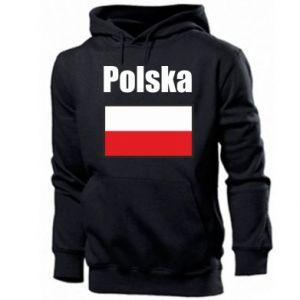 Męska bluza z kapturem Polska i flaga