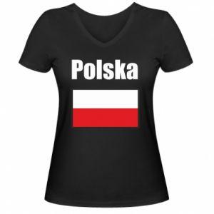Damska koszulka V-neck Polska i flaga