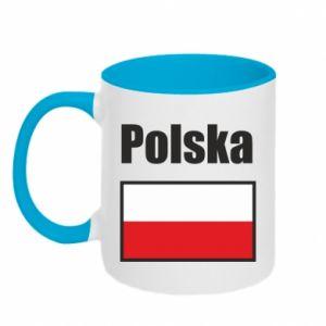 Two-toned mug Poland and flag