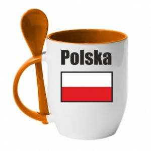 Kubek z ceramiczną łyżeczką Polska i flaga