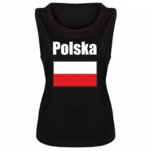 Damska koszulka bez rękawów Polska i flaga