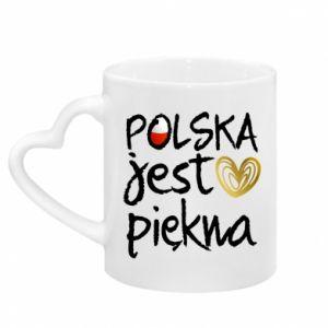 Mug with heart shaped handle Poland is beautiful