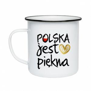 Kubek emaliowany Polska jest piękna