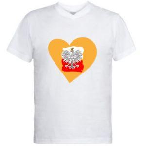 Men's V-neck t-shirt Poland, I love you