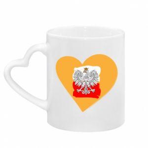 Kubek z uchwytem w kształcie serca Polska, kocham cię