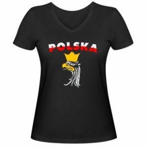 Koszulka V-neck damska Polska,orzeł
