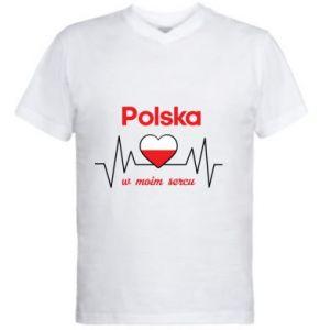 Men's V-neck t-shirt Poland in my heart