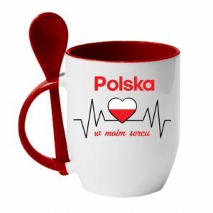 Mug with ceramic spoon Poland in my heart - PrintSalon