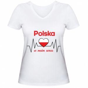 Women's V-neck t-shirt Poland in my heart - PrintSalon