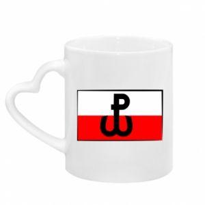 Kubek z uchwytem w kształcie serca Polska Walcząca i flaga Polski