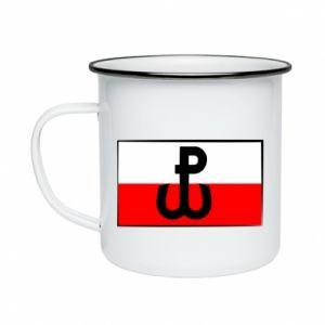 Kubek emaliowane Polska Walcząca i flaga Polski