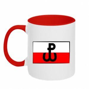 Kubek dwukolorowy Polska Walcząca i flaga Polski