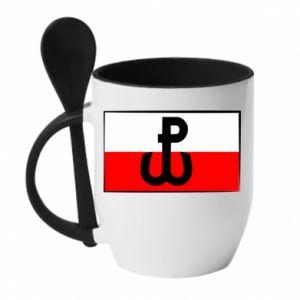 Kubek z ceramiczną łyżeczką Polska Walcząca i flaga Polski