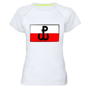 Damska koszulka sportowa Polska Walcząca i flaga Polski