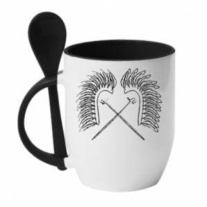 Mug with ceramic spoon Poland. Hussars - PrintSalon