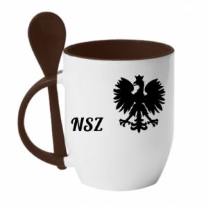 Kubek z ceramiczną łyżeczką Polska. NSZ