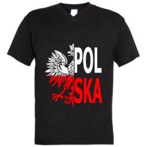 Męska koszulka V-neck Polska