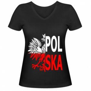 Damska koszulka V-neck Polska