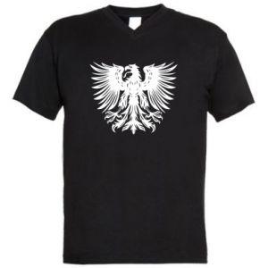 Męska koszulka V-neck Polski herb - PrintSalon