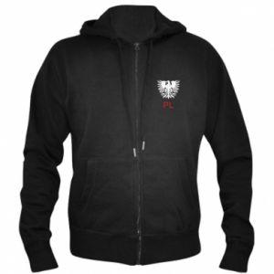 Męska bluza z kapturem na zamek Polski orzeł - PrintSalon