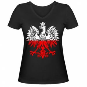 Damska koszulka V-neck Polski orzeł - PrintSalon