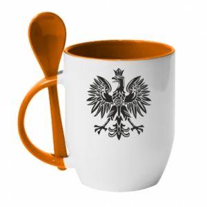 Kubek z ceramiczną łyżeczką Polski orzeł - PrintSalon