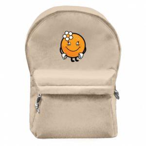 Backpack with front pocket Orange, for girls - PrintSalon