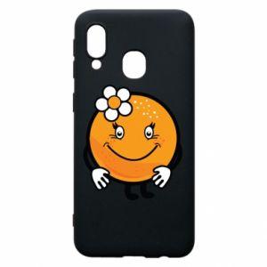 Phone case for Samsung A40 Orange, for girls - PrintSalon