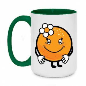 Kubek dwukolorowy 450ml Pomarańcza, dla dziewczynki