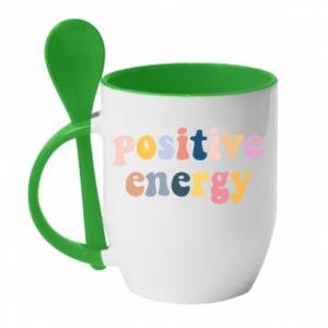 Kubek z ceramiczną łyżeczką Positive Energy