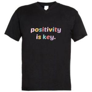 Męska koszulka V-neck Positivity is key