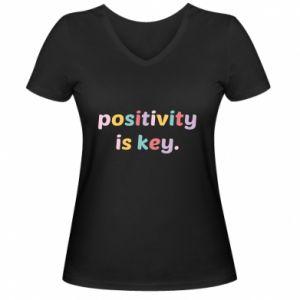 Damska koszulka V-neck Positivity is key