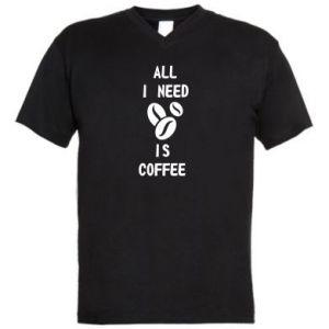Męska koszulka V-neck All I need is coffee