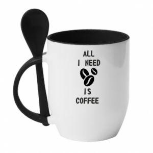 Mug with ceramic spoon All I need is coffee