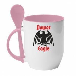 Kubek z ceramiczną łyżeczką Power eagle