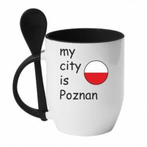 Kubek z ceramiczną łyżeczką My city is Poznan - PrintSalon