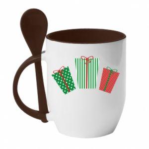 Kubek z ceramiczną łyżeczką Prezenty noworoczne