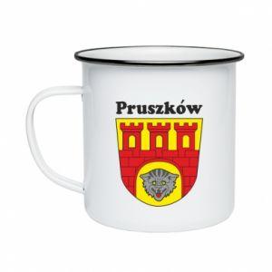 Kubek emaliowany Pruszków. Herb.
