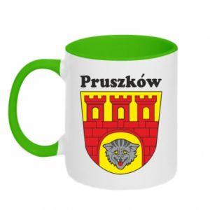 Two-toned mug Pruszkow. Emblem.