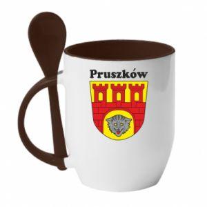 Kubek z ceramiczną łyżeczką Pruszków. Herb.