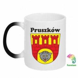 Kubek-kameleon Pruszków. Herb.